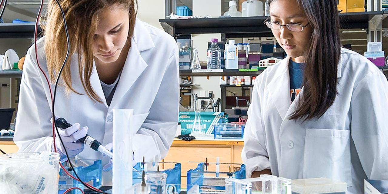 Two students working in a lab with a pipet